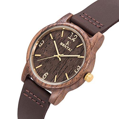 Natürliche hölzerne Uhr Sentai Holzuhr für Mann und Frau Lederarmband stilvolle und schöne handgemachte leichte Quarzuhren Unisex Armbanduhr Braun - 2