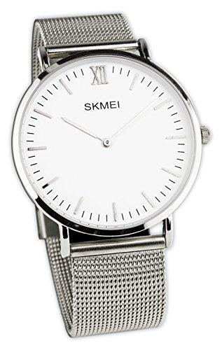 Baciami SKMEI Armbanduhr mit Mesh-Band, Silbernes Metall-Band, Quarzuhr Minimalistisch Klassisch Modern Elegant Uhr Silberuhr