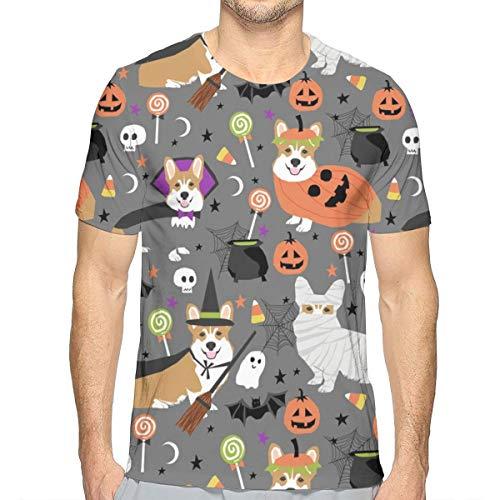 Corgi Halloween Kostüme Mummy Vampire Ghost Just Dog Stoff Grau_824 Fashion Herren Rundhals Design Camouflage Kurzarm Slim Fit Freizeit T Shirt M