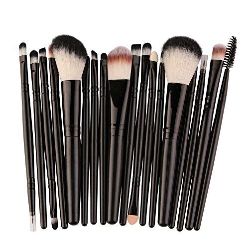 Cdet. 18Pcs Kit De Pinceau Maquillage avec Manche en Plastique Cosmétiques Brush Ensemble Fondation Mélange Blush Yeux Visage Poudre Brosse Make Up Noir