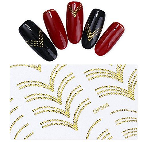 NICOLE DIARY 9 Blatt Gold Metall 3D Nail Sticker Streifen Welle Linie DIY Maniküre Nail Art Kleber Transfer Aufkleber (9 Muster) (Kleber-streifen Nail)