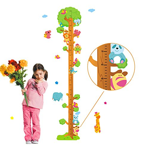 Wallpark colorito cartone animato carino animali giocando su il albero removibile adesivi murali, altezza misura con metri adesivi da parete, bambini camera vivai diy arte adesivo murale