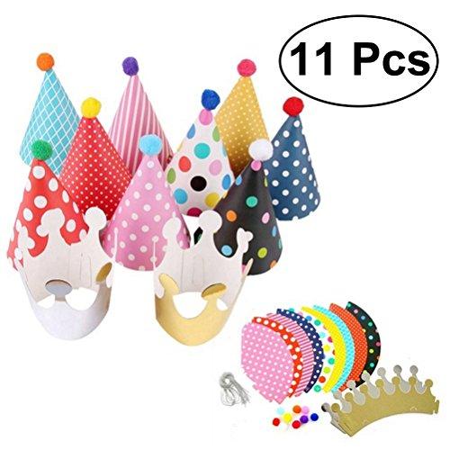 LUOEM Baby Kinder Geburtstag Hüte Krone, Party Hüte Papier Hüte Hochzeit Geburtstag Party Supplies 11 STÜCKE (verschiedene Farben) (Kinder Hut Für Elf)