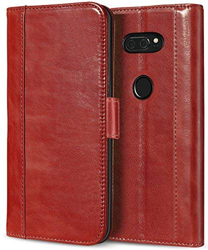 ProCase LG V30 V35 Echtes Leder Hülle, ProCase Falten Flip Case mit Kickstand & mehrere Kartensteckplätze Magnetverschluss Schutzhülle für LG V30 V35/ LG V30 Plus/LG V30S ThinQ/ V35 ThinQ -Rot