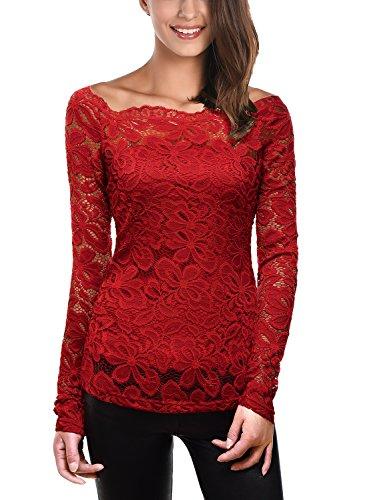 Kleid Stretch Lace Top (DJT Damen Langarmshirt Bluse mit Tops Floraler Spitze Weg von der Schulter Oben Weinrot XL)