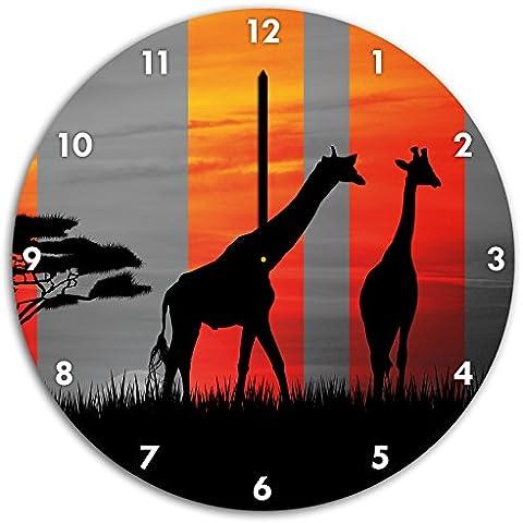 giraffe Africa tramonto nero / bianco, orologio da parete diametro 48 centimetri con il nero ha sottolineato le mani e il viso, oggetti decorativi, Designuhr, composito di alluminio molto bello per soggiorno, studio - Savannah Uccello Ragazze