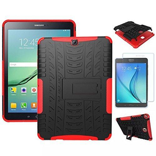 or Schutzhülle Cover Rot/Schwarz für Samsung Galaxy Tab S2 9.7 T810 T810N Tasche Case + 0.4 mm H9 Tempered Panzerglas Folie ()