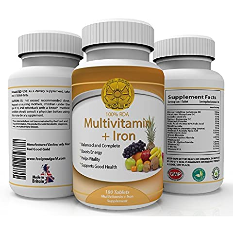 Multivitamin + Iron Daily Vitamins 180 Tablets - A B1 B2 B6 C D and E - 100% RDA - boosts energy and vitality for Men and Women - made in the UK for Feel Good Gold. (180