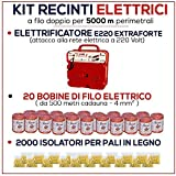 KIT PER RECINTO ELETTRICO 5000 MT - ELETTRIFICATORE E/220 + FILO + ISOLATORI
