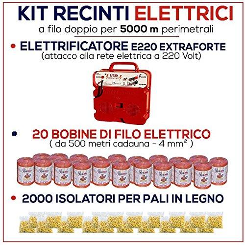 Kit für Weidezaun 5000 Meter - Weidezaungerät E/220 + Weidezaun Litze + Isolatoren für Holzpfähle / eisenpfähle GEMI