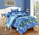 4pezzi Biancheria da letto 3D Blue rose fiore stampato set copripiumino per letto matrimoniale