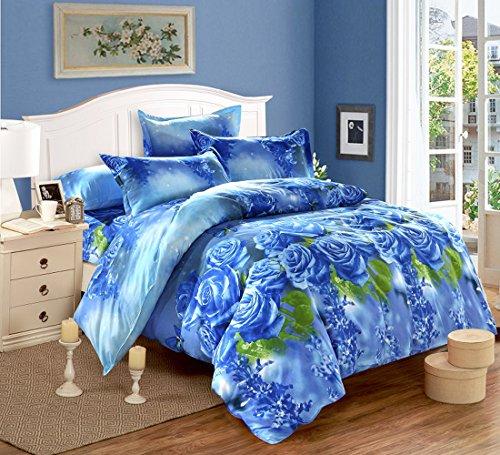 tinghan 4Brilliant Blue Rose Bettwäsche Bettbezug bedrucktes Bettwäsche-Set Double Größe