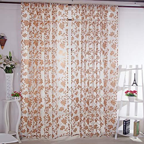 Modely 200 * 100cm Transparent Lotus Vorhang Schiere Voile Tüll Vorhänge Ösenschal Fenster Behandlung Gardine mit Ösen aus Polyester, 2er-Pack