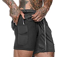 Ultra Dry Mens Sports Running Shorts with Zip Pockets for Gym Training Workout 2 in 1 with Pocket and Liner Breathable…
