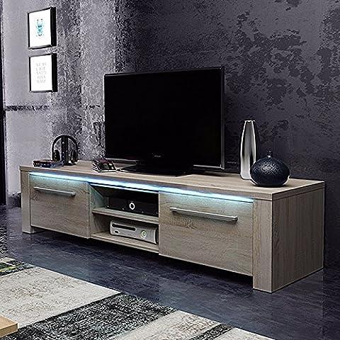 MARCO Lowboard Entertainment Unit/TV Cabinet (140 cm, Sonoma Oak Finish with LED Lighting)