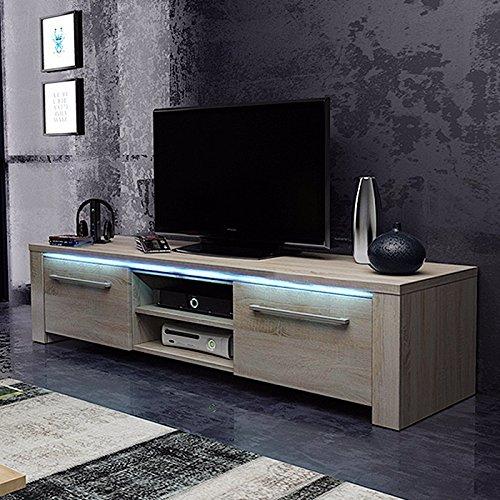 Messa - mobile tv con 2 armadi e 2 vani aperti (140 cm, in rovere sonoma chiaro con illuminazione led)