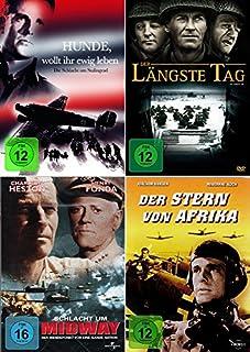 History Collection 4er Set   Der längste Tag + Der Stern von Afrika + Hunde wollt ihr ewig leben + Schlacht um Midway [4-DVD]