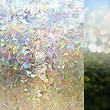 Rabbitgoo 3D Fensterfolie Selbsthaftend Dekorfolie Sichtschutzfolie Statisch Haftend Anti-UV - 60cm*200cm - Regenbogenfarben Effekt Upgraded Version