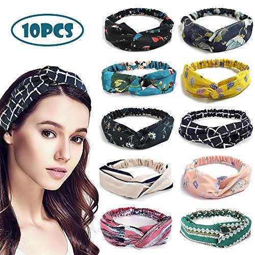 LATTCURE Haarband Stirnband Damen Verdrehte Jahrgang Blume Gedruckt 10 Stück Haarbänder Haarschmuck