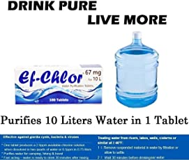 Ef-Chlor, Water Purification Tablets, Purifies 2000 Liters Water, 1 Tablet Purifies 20 Liters Water (67 Mg),White