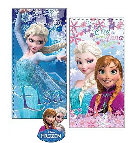 Hasbro frozen set due teli mare in microfibra ad alta assorbenza 300 gr/mq stampa fotografica, 100 x 70 cm, originali con etichetta. (set 4)
