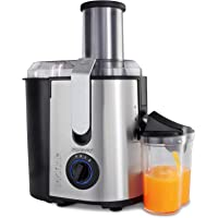 Centrifugeuse en Inox Fruits et légumes 1100W Extracteur de jus Capacité 1L Ouverture 85mm livre de recettes inclus