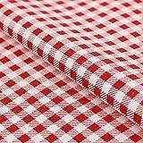 Stoff Meterware, Vichy Karo 5x5 mm, Rot Weiß, Baumwolle,
