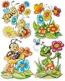 Unbekannt 1 Bogen: Fensterbild - lustige Tiere - Schmetterlinge - Frosch - Blumen - Bien..