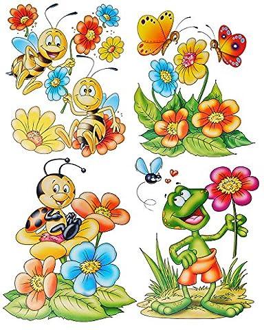 4 Bögen: Fensterbild - lustige Tiere - Frosch - Blumen - Bienen - Schmetterling - Sticker Fenstersticker / z.B. für Fenster und Spiegel - statisch haftend - Aufkleber selbstklebend wiederverwendbar - Fensterfolie Fensterdeko