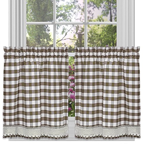 Achim Home Furnishings Buffalo Check Tier Pair, Taupe, 58-inch by 24-inch