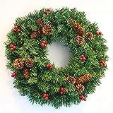 BGDRE Weihnachtskranz Simulation Tannenzapfen Türverkleidung Rattan-Kreis Fenster Dekoration,60cm