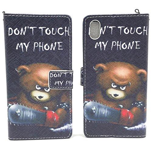 Roi Boutique Housse Wallet Cadre Bumper Case Cover imitation cuir Format Livre BÄR DONT TOUCH MY PHONE