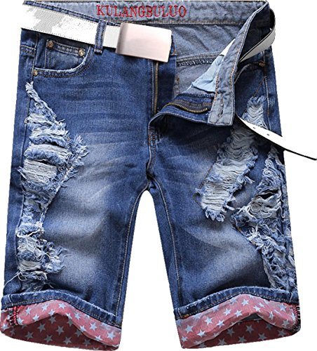 jeansian Herren Fashion Summer Ripped Shorts Jeans Knee Length Denim Slim Fit Casual Short Pants Trousers MJB073 LightBlue W33