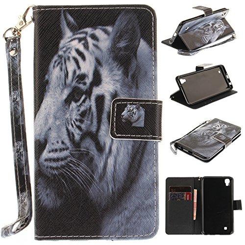 Ooboom® LG X Power Hülle Flip PU Leder Handy Tasche Case Cover Schutzhülle Wallet Ständer Karte Halter für LG X Power - Weiß Tiger