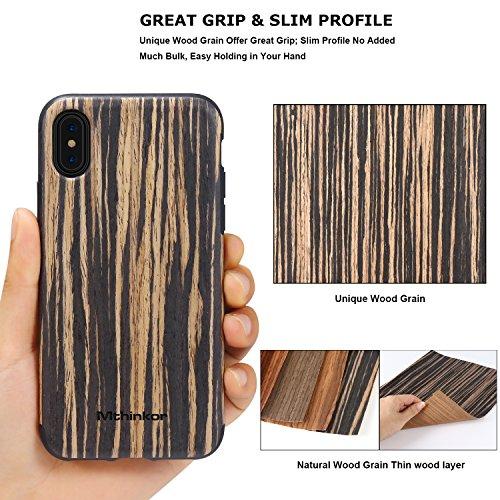 Cover iPhone 8 / Cover iPhone 7 Mthinkor Custodia Aderente Perdettamente Legno Morbido per iPhone 7 e iPhone 8 (Sandalo Rosso) Sandalo Nero