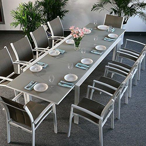 Violet Tisch mit 10 Georgia Stühlen - WEIß & CHAMPAGNERFARBEN | großer ausziehbarer Esstisch 300cm