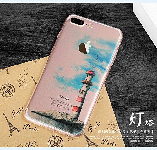 iPhone 7Plus Cover, MAOOY Bellissimo Paesaggio Modello Design Case per iPhone 7Plus, Flessibile Ultra Sottile Leggero Bumper Copertura di Soft Gomma Sveglio Cristallo Gel Antiurto Protettiva per 5.5  Faro