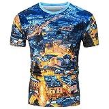 Rawdah T-Shirt à Manches Courtes Imprimé à Col Rond Hawaii Shirts Occasionnels Sports Drôles D'Impression 3D Printemps Été à Supérieur Blouse Top pour Hommes (M, Bleu)