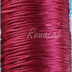 Hilo Macramé de Cola de Rata cordón 2mm Rojo rubí para Macramé
