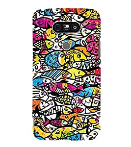 MULTICOLOURED ABSTRACT FISH PATTERN 3D Hard Polycarbonate Designer Back Case Cover for LG G5:LG G5 Dual H860N with dual-SIM card slots