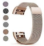 Fitbit Charge 2 Ersatz Armbänd, BeneStellar Ersatz Milanese Band für Fitbit Charge 2 (Rose Gold, Large (6.5'-9.0'))