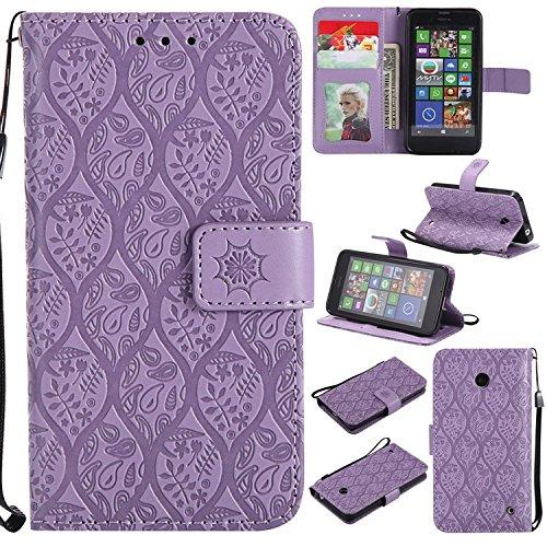 Guran PU Leder Tasche Etui für Nokia Lumia 630 Smartphone Flip Cover Stand Hülle und Karte Slot Rattan Case - lila