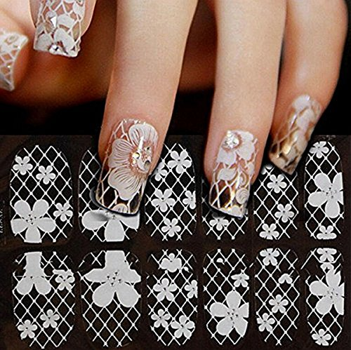 Teenxful 12PCS 3D Design Nail Art Sticker Tip Decal Manicure White Lace Test