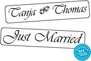 Liebesmasche Original Kfz Kennzeichen Hochzeit Autoschilder Hochzeitsschilder Namensschilder Just Married Namen Und Ringe 0189 0003 Auto