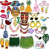 Sayala Photobooth Hawai -36 pcs Accessoires de Déguisement Tropicals Décoration Fête Musique Anniversaire Mariage Party Soirée...