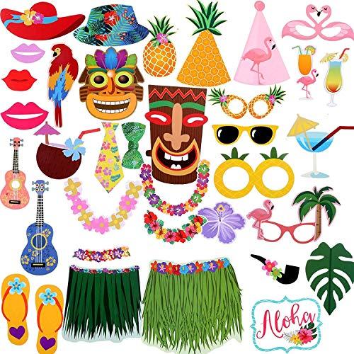 Sayala 36Stuck Aloha Sommer Hawaiian Photo Booth Props,Luau Foto Requisiten Flamingo Selfie Photo Frame Sommer Album Foto Requisiten Partyzubehör