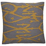 "Jaipur Tribal Pattern Ivory/Yellow Wool and Cotton Down Filled Pillow, 20"" x 20"", Cloudburst/Arrowwood"