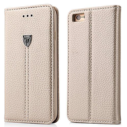 iPhone 7 Plus Klapphülle, iPhone 8 Plus Klapphülle, XUNDD Flip Book Case Cover Stand erstklassige Leder Tasche hülle für iPhone 7/8 Plus(5.5 zoll) Handyhülle im Bookstyle mit Magnet Kartenfächer Standfunktion, Gold (Tasche Magnete)