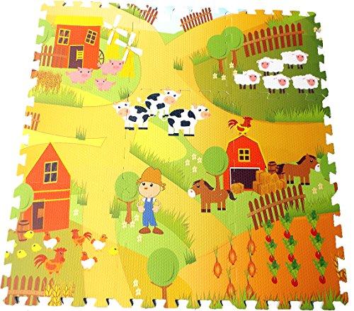 Brigamo Bauernhof Puzzlematte, 9 teilige Schaumstoffmatte, Schadstoff geprüft