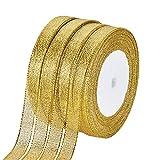 BENECREAT 228m (10 Rotoli X 22.8m) 12mm Largo Premium Glitter Scintillio Metallico in Tessuto Nastro per Matrimonio, Vacanza, Decorazione Domestica, Carta da Regalo (Oro)